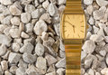 False Gold Wristwatch on the Gravel Royalty Free Stock Photo