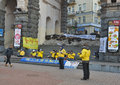 Falun gong protest in kiev followers of spiritual discipline against persecution china during euromaidan public protests Royalty Free Stock Images
