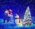 Famiglia carol snowman concepts dell albero di natale Immagine Stock Libera da Diritti
