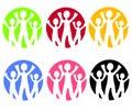 Familien-Web-Ikonen oder Zeichen Stockbild