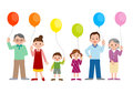 stock image of  Families with balloons