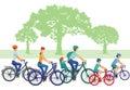 Families on bikes