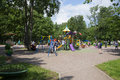 Families with children playing on the Playground in the Park of Zelenogorsk. Saint Petersburg Royalty Free Stock Photo
