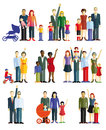Families and couples colorful banner style illustration of some with children others with babies a gay couple including prams a Royalty Free Stock Image