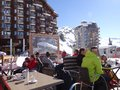 Families enjoy eating outdoors avoriaz france mar during the french school holiday week on mar in avoriaz france Royalty Free Stock Images