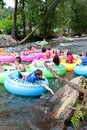 Families Go Tubing Down North Georgia River Royalty Free Stock Photo