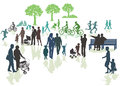 Families in park silhouette of generations of outdoors or nature Royalty Free Stock Image