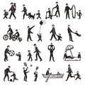 Family Activity Sketch Icon Set Royalty Free Stock Photo