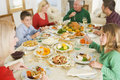 Family All Together At Christmas Dinner Royalty Free Stock Images