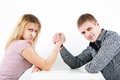 Family armwrestling Royalty Free Stock Photo