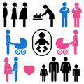 Family and baby icon set Royalty Free Stock Photo