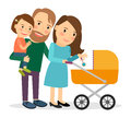 Family with baby in stroller Royalty Free Stock Photo