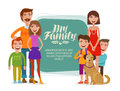 Family banner. Happy people, parents and children. Cartoon vector illustration