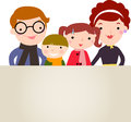 Family and banner vector illustration of a with children Royalty Free Stock Image