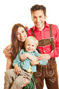 Family in bavaria with child happy smiling Stock Images