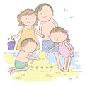 Family at the beach Royalty Free Stock Photo