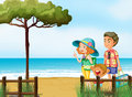 A family at the beach illustration of Royalty Free Stock Photo
