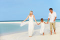 Family beautiful beach wedding holding hands Royalty Free Stock Photos