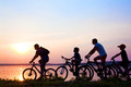 Family on bicycles admiring the sunset the lake silhouette Royalty Free Stock Photos