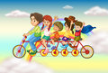 A family bike with a group of people riding illustration Royalty Free Stock Images