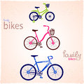 Family bikes illustration of three silhouettes of bicycles Stock Photos