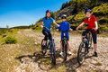 Family biking active mother and kids Stock Image