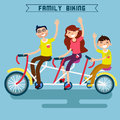 Family Biking. Family Riding a Bicycle. Triple Bicycle Royalty Free Stock Photo