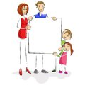 Family with Blank Board Stock Photo