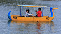 Family Boating  in Burnham Park in Baguio City, Philippines Royalty Free Stock Photo