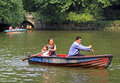 Family are boating on lake in park of Chengdu Royalty Free Stock Photo