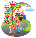 A family bonding at the carnival illustration of on white background Royalty Free Stock Image