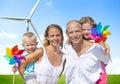 Family bonding turbine cheerful lifestyles concept Royalty Free Stock Image