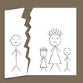 Family breakup concept of in divorce and unhappiness in child style drawing Royalty Free Stock Photos