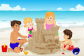 Family building sand castle a vector illustration of happy on beach Stock Images