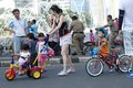 Family on bundaran hi having recreation jakarta indonesia every sunday province goverment applied car free day some road in Stock Photo