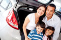 Family buying a car Stock Photo