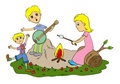 Family camp fire Royalty Free Stock Photography