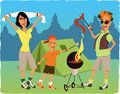 Family camping and barbecuing at the park tent on the background cartoon Stock Photo