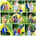 Family camping collage of images with three kids in tent in on the nature Royalty Free Stock Image