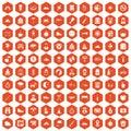100 family camping icons hexagon orange Royalty Free Stock Photo