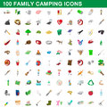100 family camping icons set, cartoon style