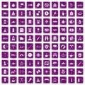 100 family camping icons set grunge purple Royalty Free Stock Photo
