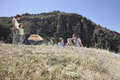 Family camping on mountain top couple with three children Stock Images