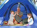 Family Camping in Tent Royalty Free Stock Photo