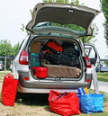Family car with suitcases and bags Stock Image