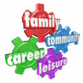Family Career Community Leisure Words Spending Balancing Time Ge