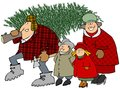 Family carrying a christmas tree this illustration depicts taking home their Royalty Free Stock Photography