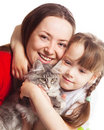 Family with a cat Royalty Free Stock Photo