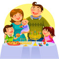 Family celebrating hanukkah happy cartoon hanukah Stock Photography