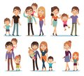 Family characters. Happy traditional families people relationship mother father kids grandma grandpa pet colorful